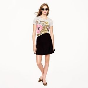 J. Crew Fluted Skirt in Double Crepe Black
